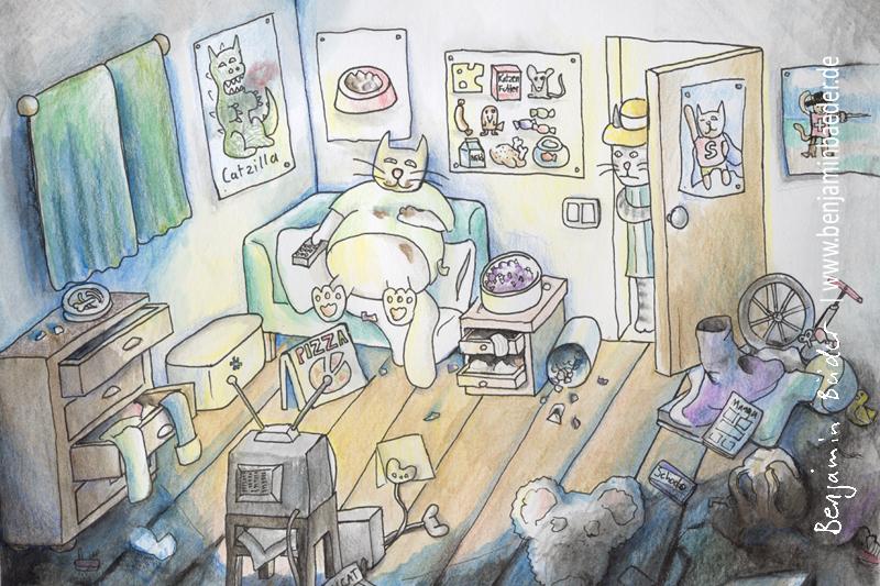 Katzen die zu viel fernsehen werden schnell zu dick