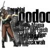 Voodoo-Frau mit Typo-Elementen