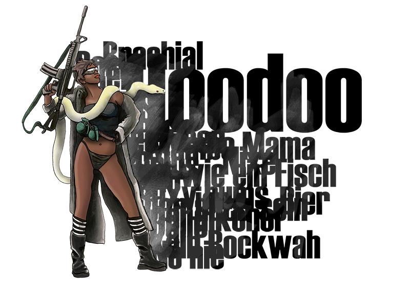 Hoodoo-Frau mit Typo-Elementen
